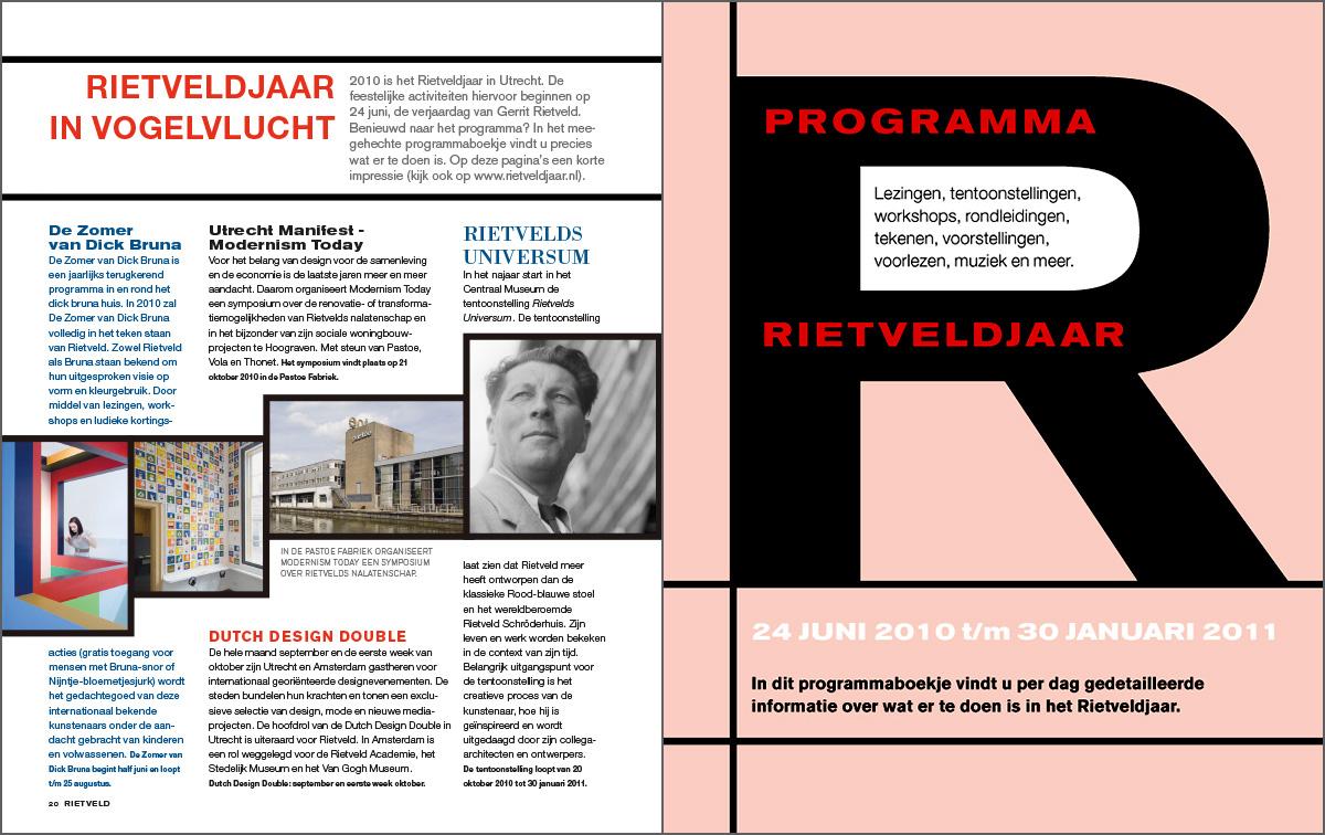 Binnenwerk Rietveld magazine. Rietveldjaar programma.