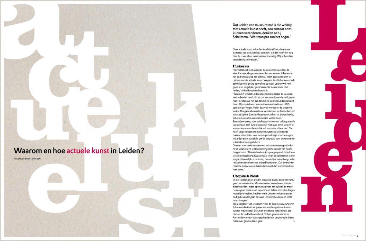 Scheltema magazine, spread over Leiden en actuele kunst.