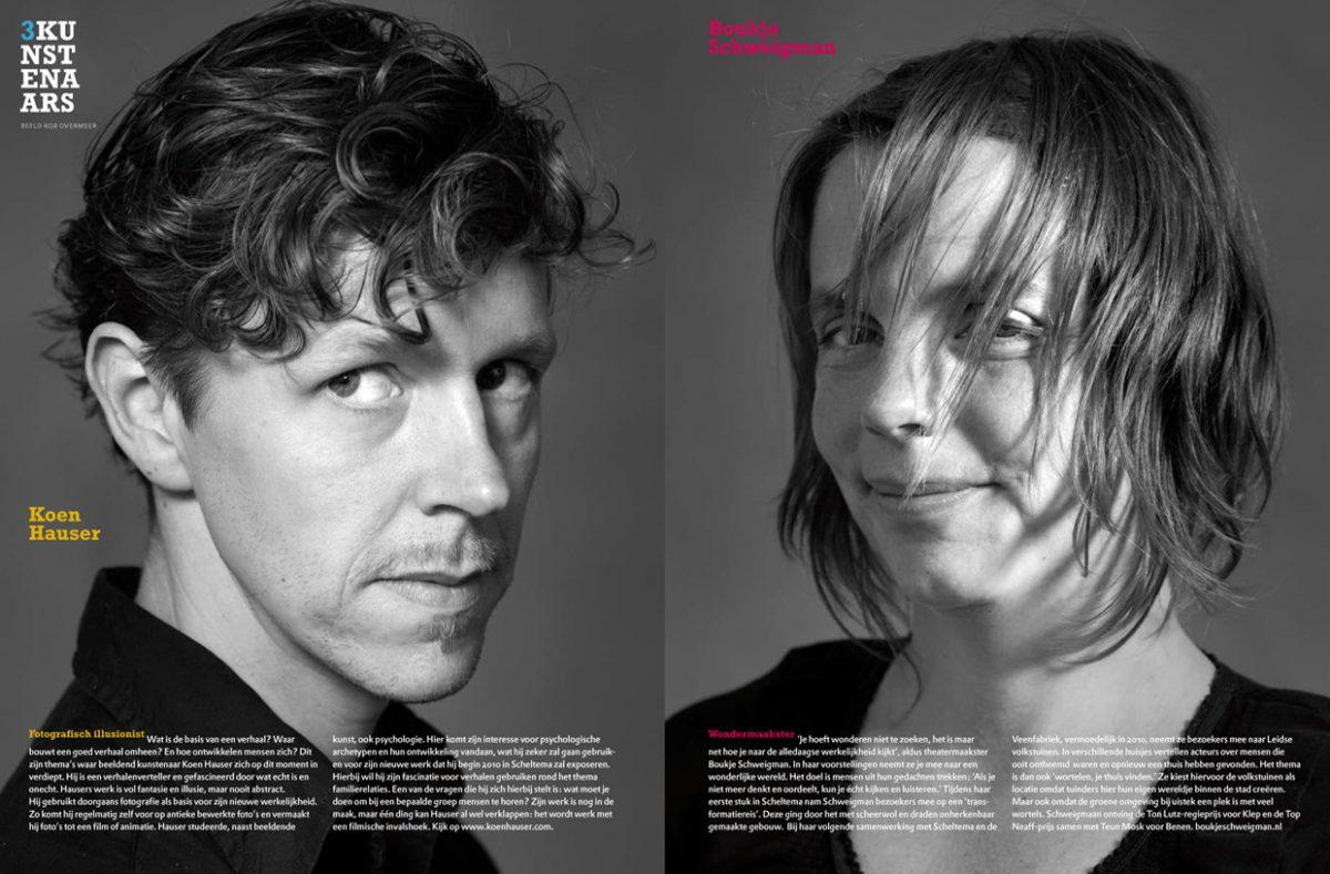 Scheltema magazine, spread Kunstenaars (fotografie: Rob Overmeer).